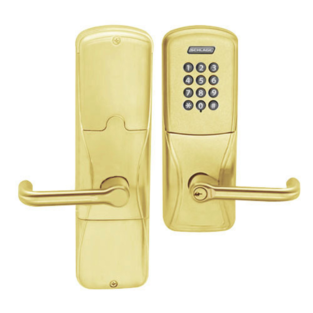 AD200-CY-40-KP-TLR-GD-29R-605 Schlage Privacy Cylindrical Keypad Lock with Tubular Lever in Bright Brass