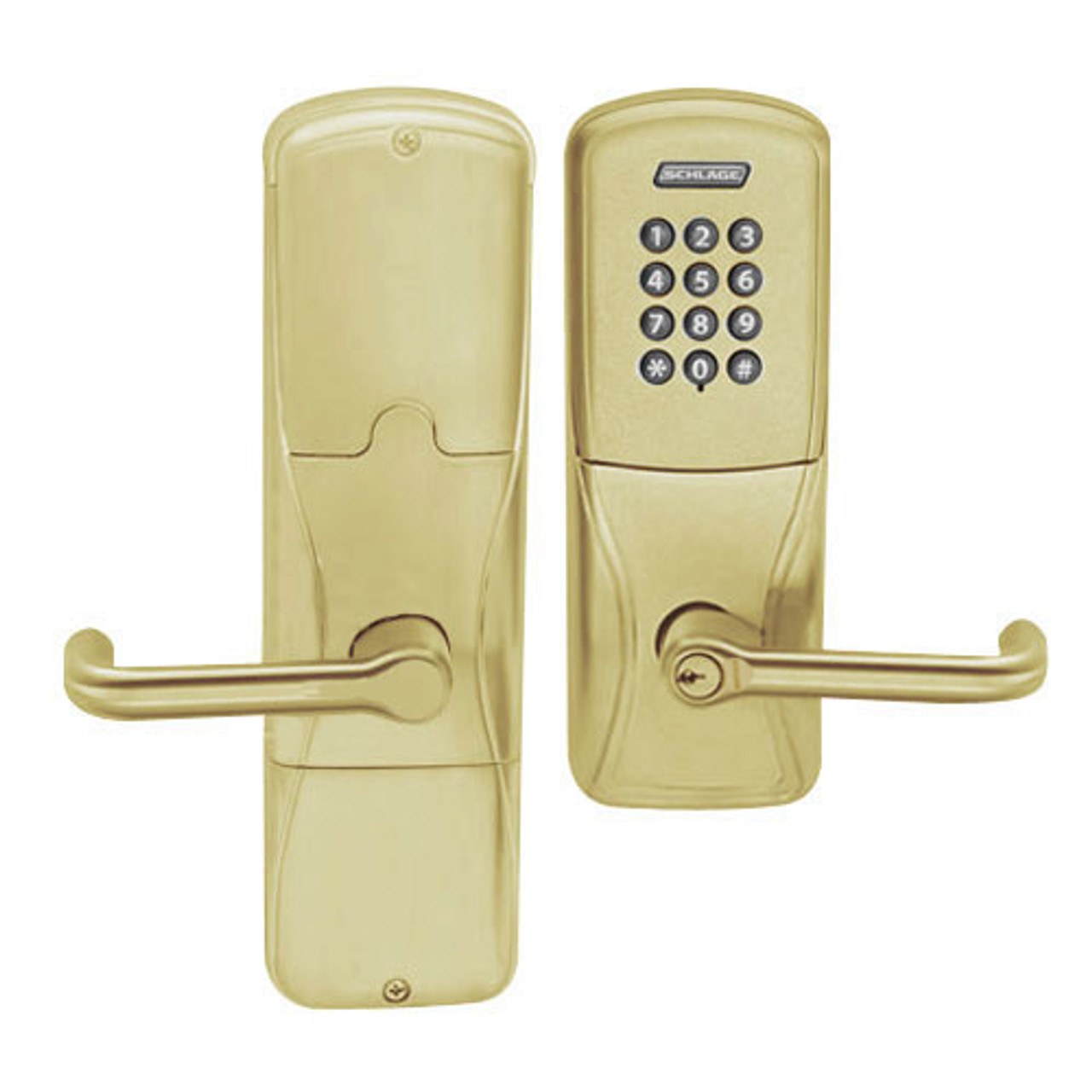AD200-CY-40-KP-TLR-GD-29R-606 Schlage Privacy Cylindrical Keypad Lock with Tubular Lever in Satin Brass