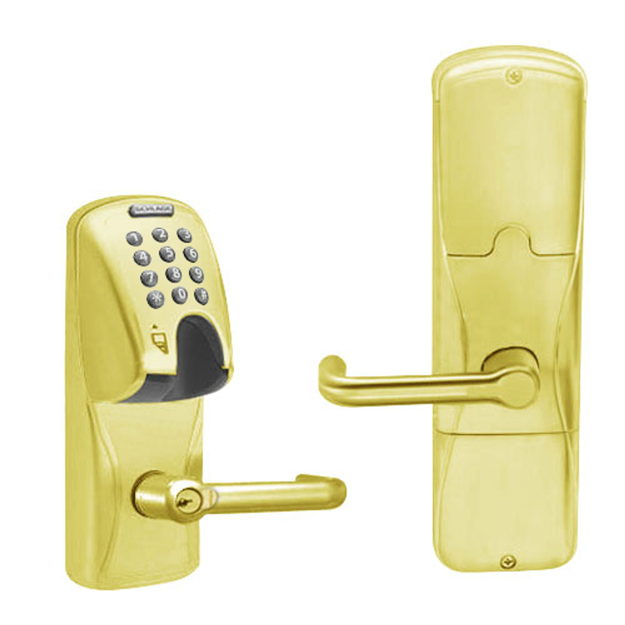 AD250-MS-40-MGK-TLR-RD-605 Schlage Privacy Magnetic Stripe(Insert) Keypad Lock with Tubular Lever in Bright Brass