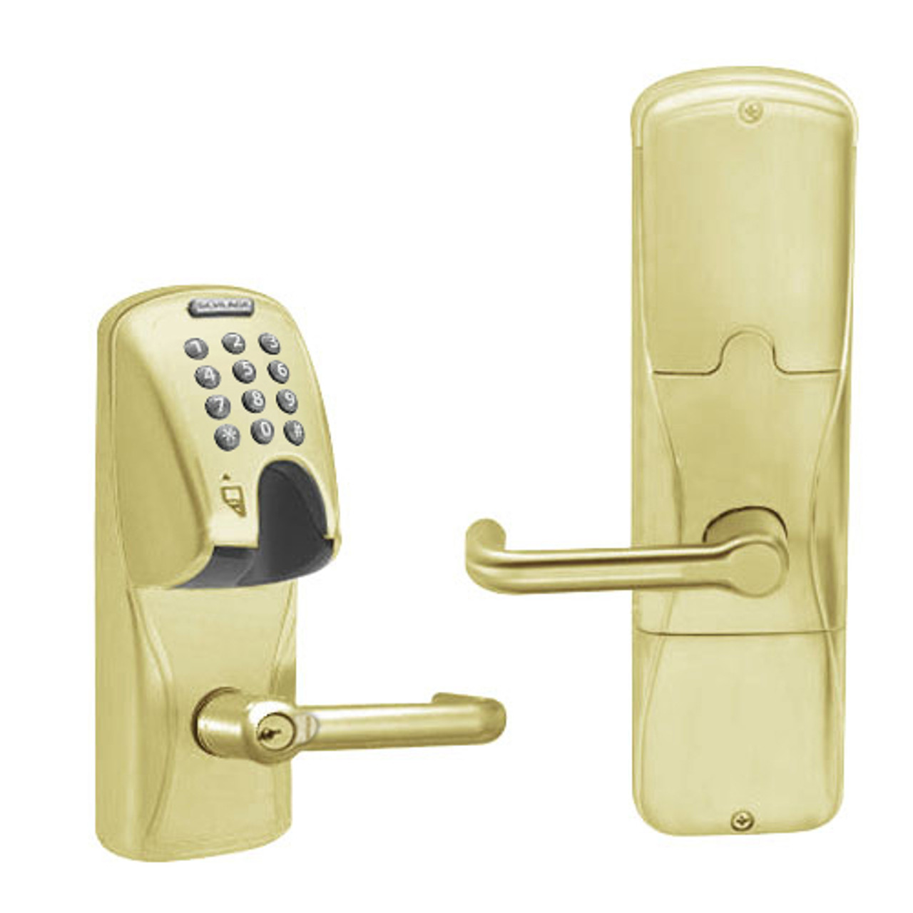 AD250-MS-40-MGK-TLR-RD-606 Schlage Privacy Magnetic Stripe(Insert) Keypad Lock with Tubular Lever in Satin Brass