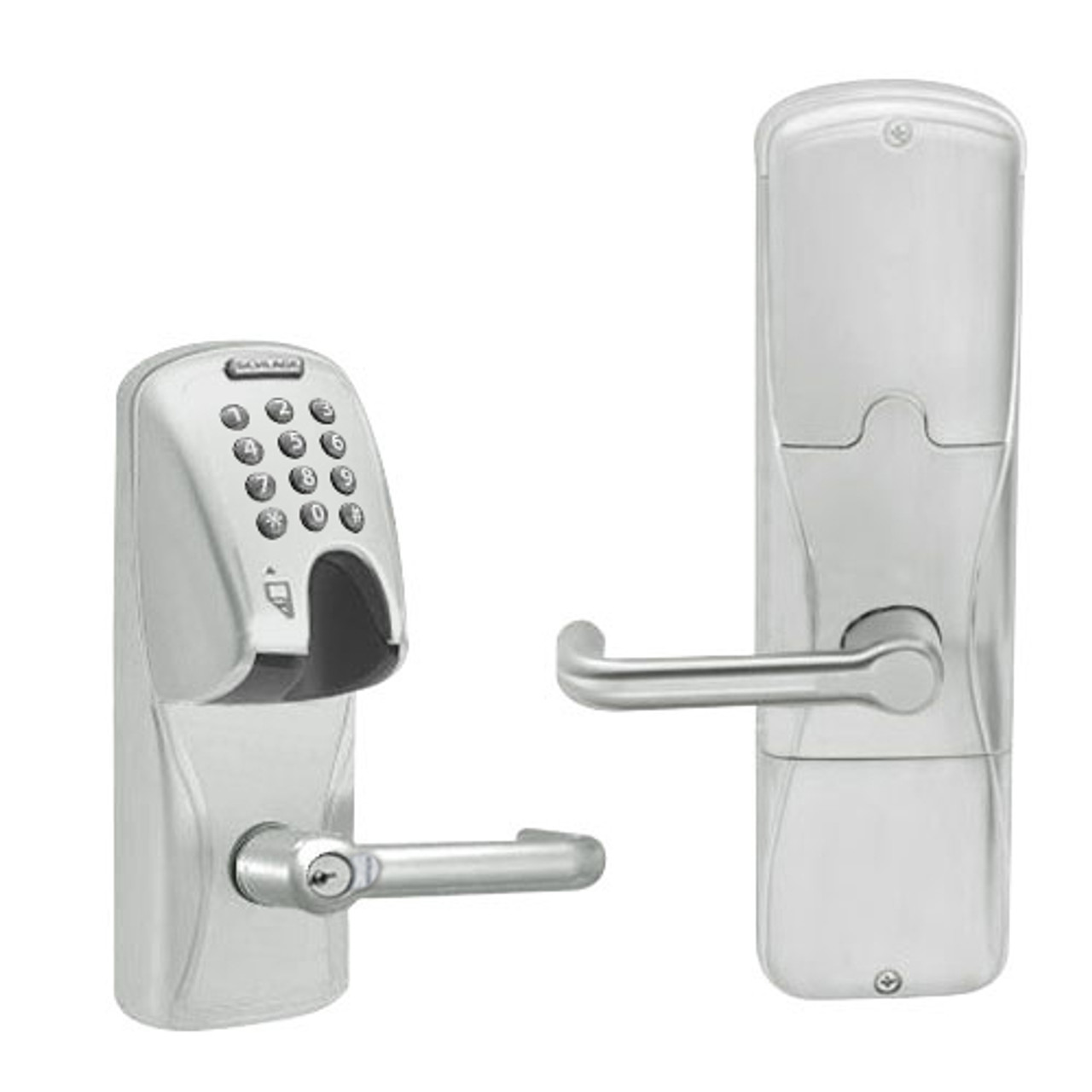 AD250-MS-40-MGK-TLR-RD-619 Schlage Privacy Magnetic Stripe(Insert) Keypad Lock with Tubular Lever in Satin Nickel