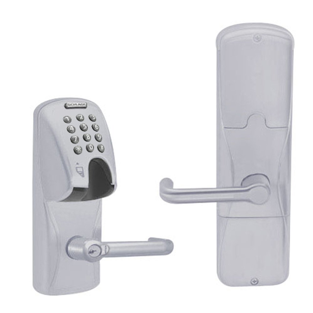 AD250-MS-40-MGK-TLR-RD-626 Schlage Privacy Magnetic Stripe(Insert) Keypad Lock with Tubular Lever in Satin Chrome