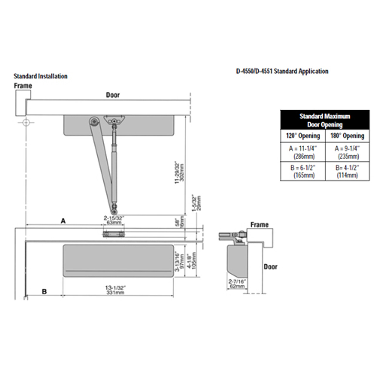 D-4550-690 Stanley D-4550 Surface Closers with Standard Parallel and Top Jamb Arm in Statuary Bronze