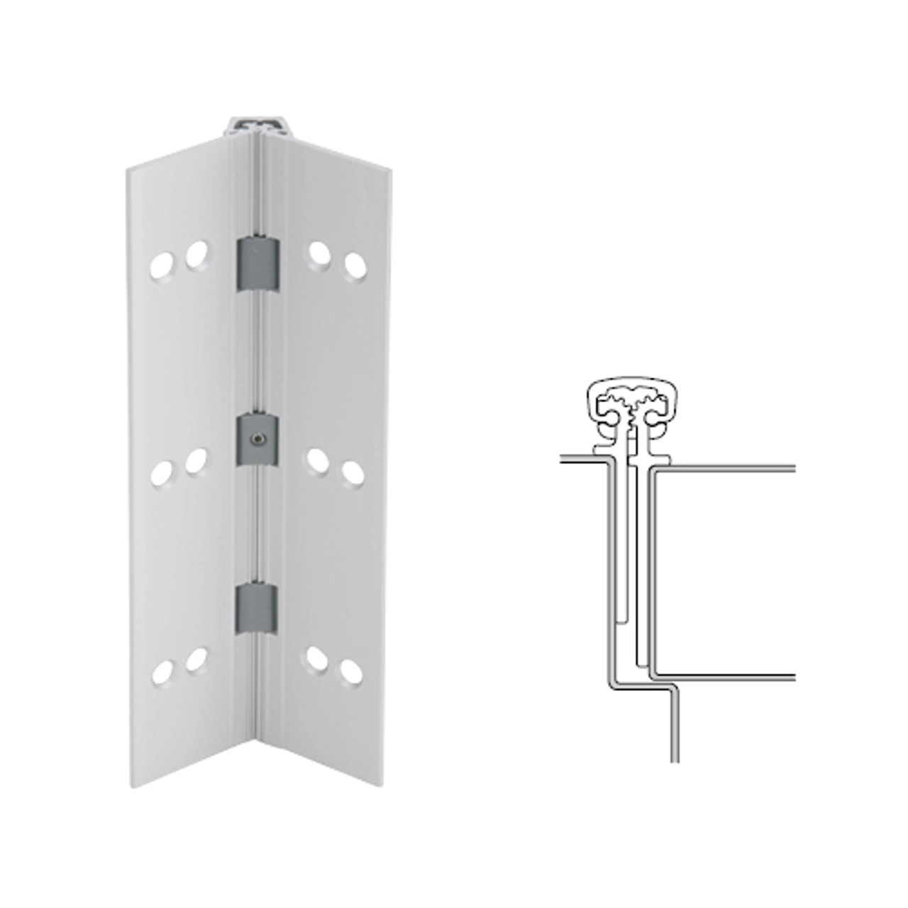 026XY-US28-95-HT IVES Full Mortise Continuous Geared Hinges with Hospital Tip in Satin Aluminum