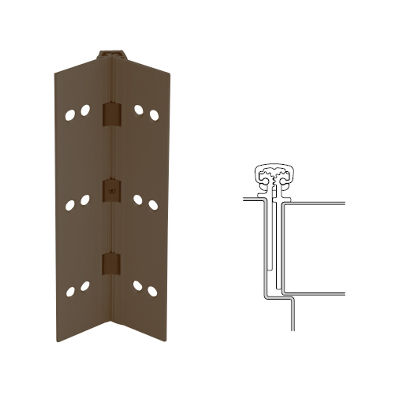 026XY-313AN-95-HT IVES Full Mortise Continuous Geared Hinges with Hospital Tip in Dark Bronze Anodized
