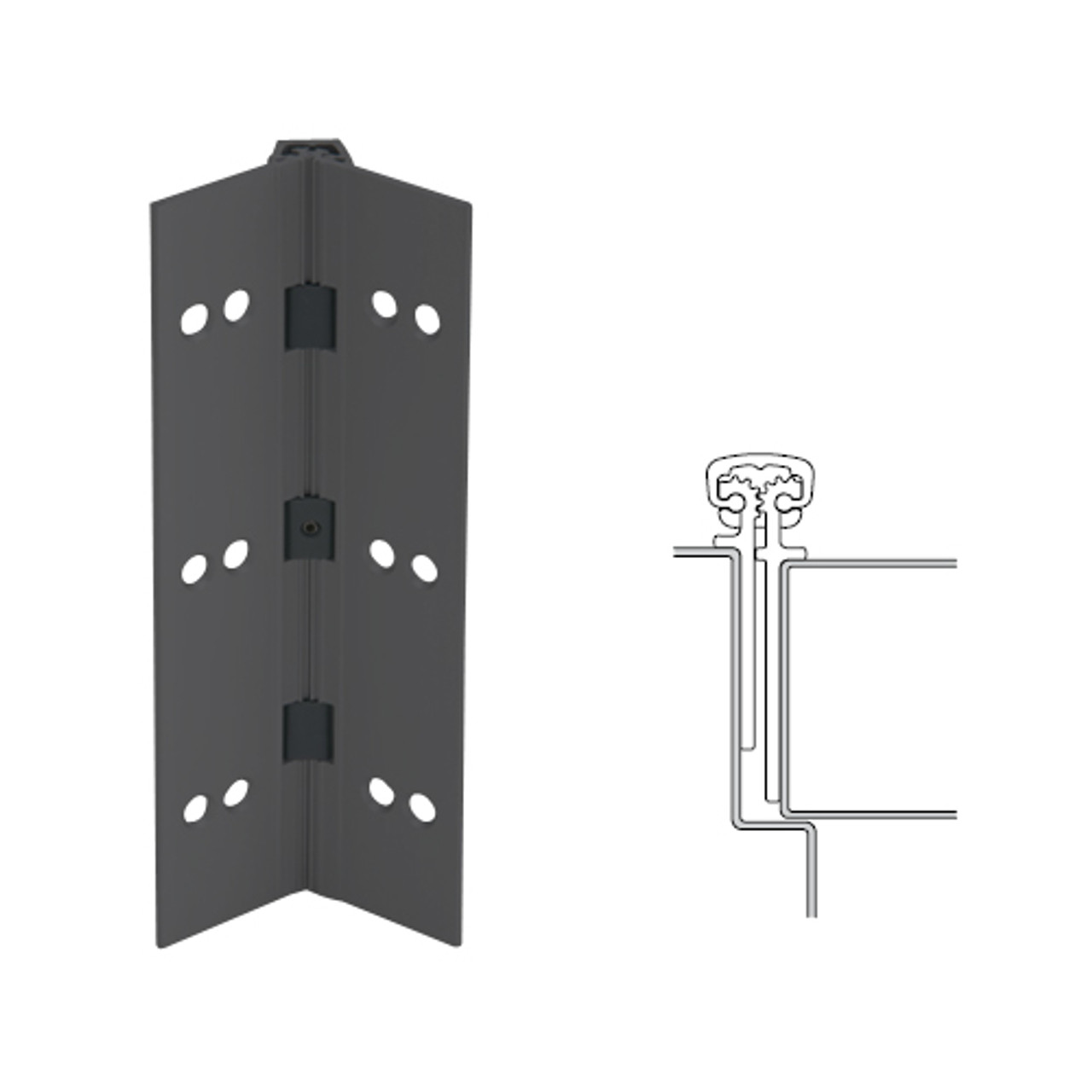 026XY-315AN-95-HT IVES Full Mortise Continuous Geared Hinges with Hospital Tip in Anodized Black