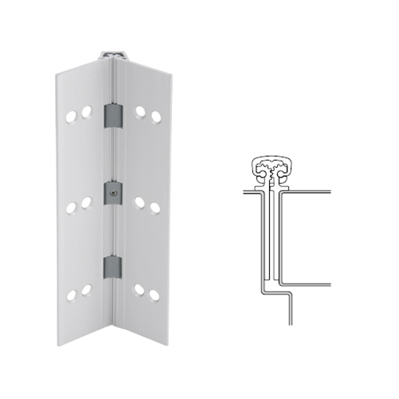 027XY-US28-95-HT IVES Full Mortise Continuous Geared Hinges with Hospital Tip in Satin Aluminum