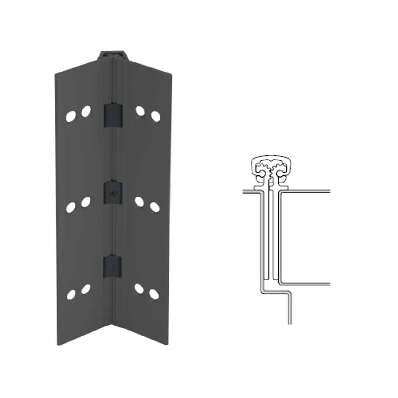 027XY-315AN-83-HT IVES Full Mortise Continuous Geared Hinges with Hospital Tip in Anodized Black