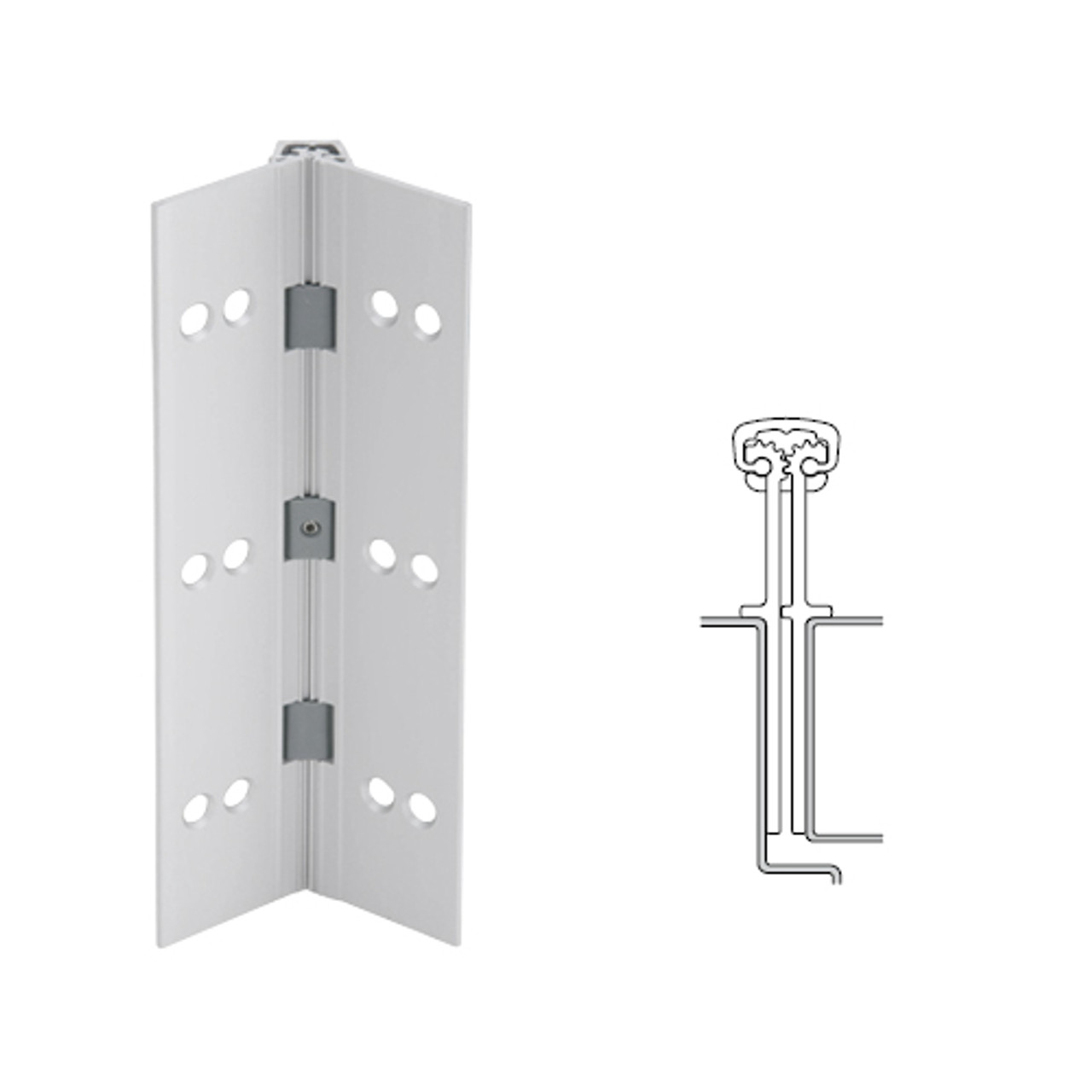 040XY-US28-95-HT IVES Full Mortise Continuous Geared Hinges with Hospital Tip in Satin Aluminum