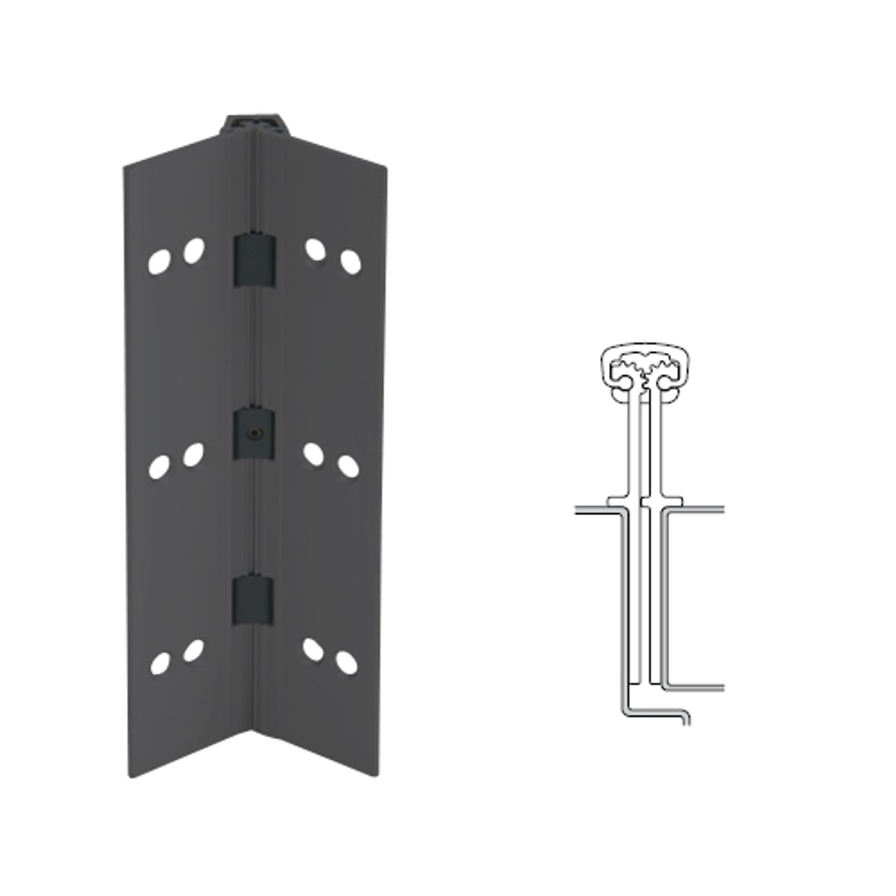 040XY-315AN-95-HT IVES Full Mortise Continuous Geared Hinges with Hospital Tip in Anodized Black