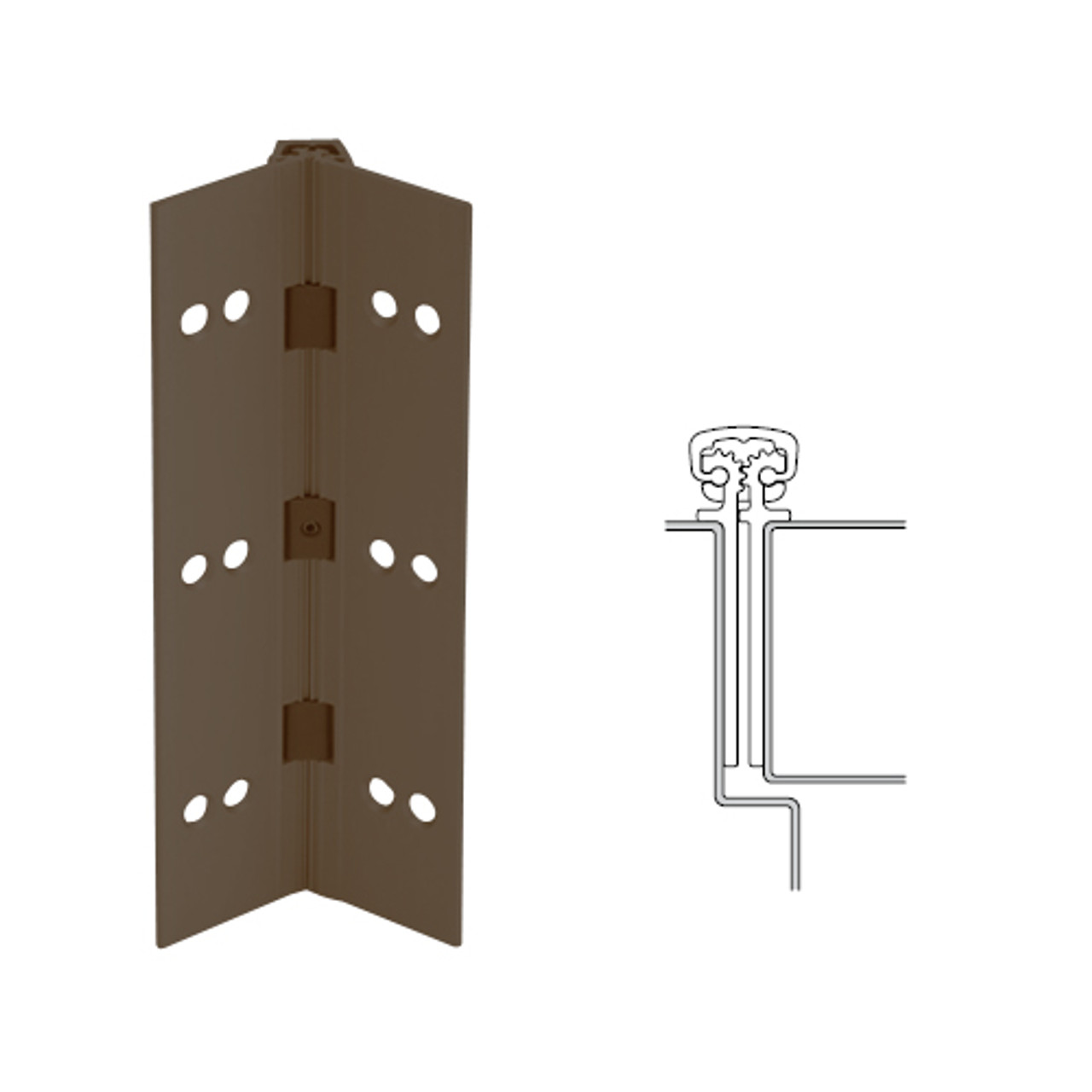 027XY-313AN-95-SECWDHM IVES Full Mortise Continuous Geared Hinges with Security Screws - Hex Pin Drive in Dark Bronze Anodized