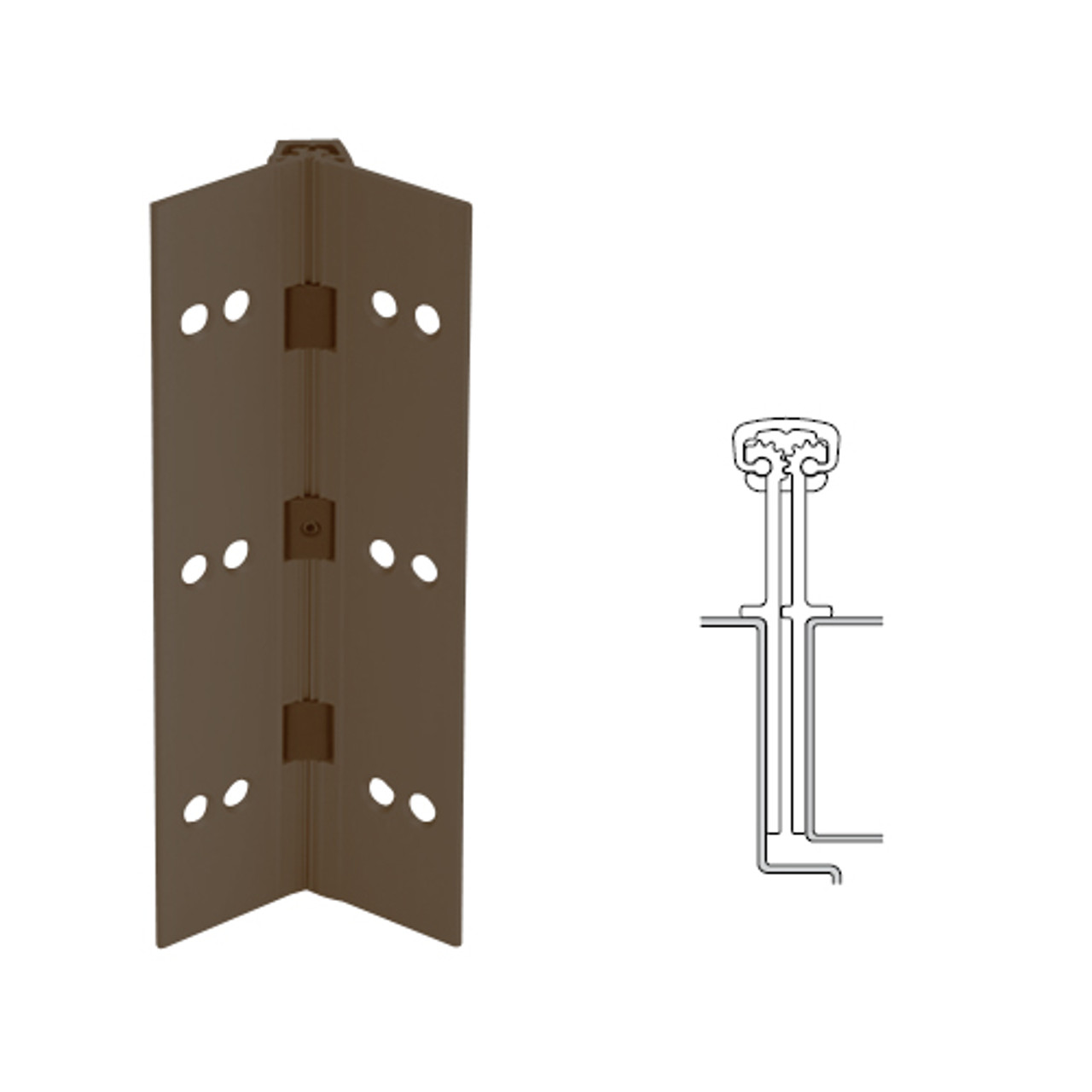 040XY-313AN-85-SECWDHM IVES Full Mortise Continuous Geared Hinges with Security Screws - Hex Pin Drive in Dark Bronze Anodized