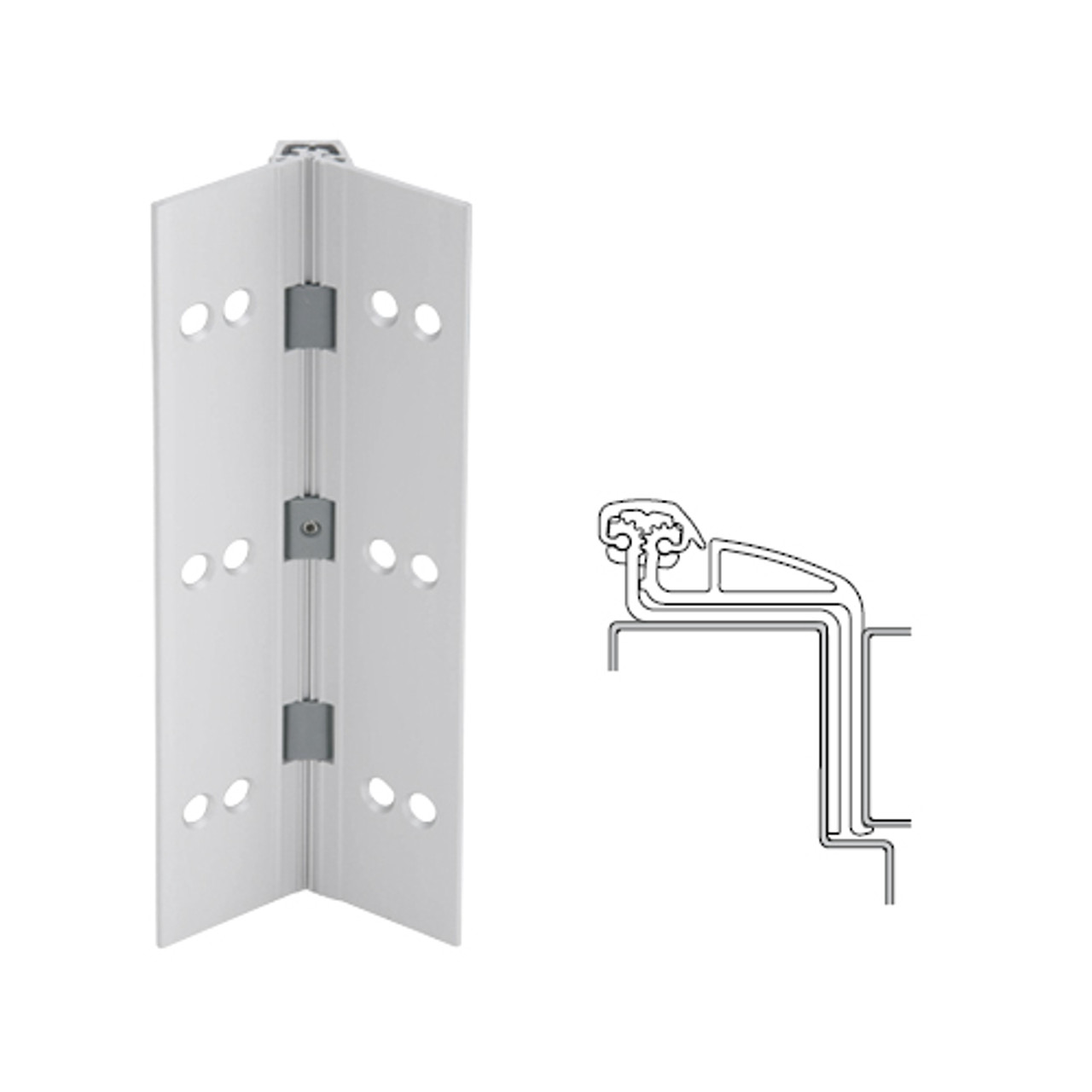 041XY-US28-95-SECWDHM IVES Full Mortise Continuous Geared Hinges with Security Screws - Hex Pin Drive in Satin Aluminum