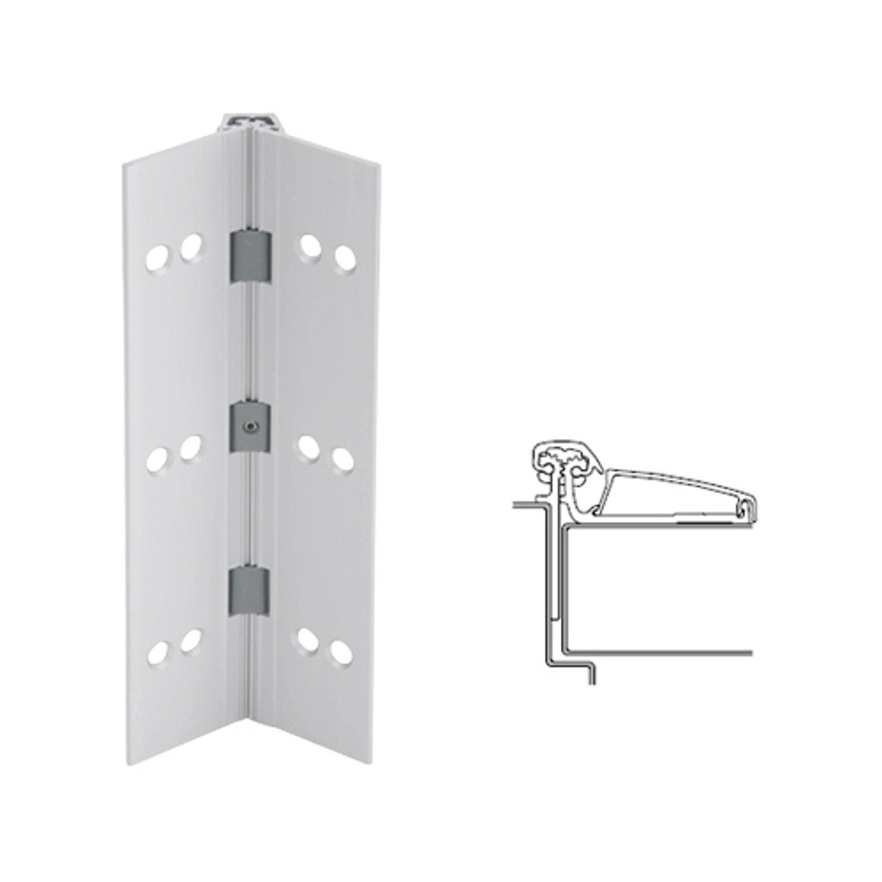 045XY-US28-120-SECWDHM IVES Adjustable Half Surface Continuous Geared Hinges with Security Screws - Hex Pin Drive in Satin Aluminum