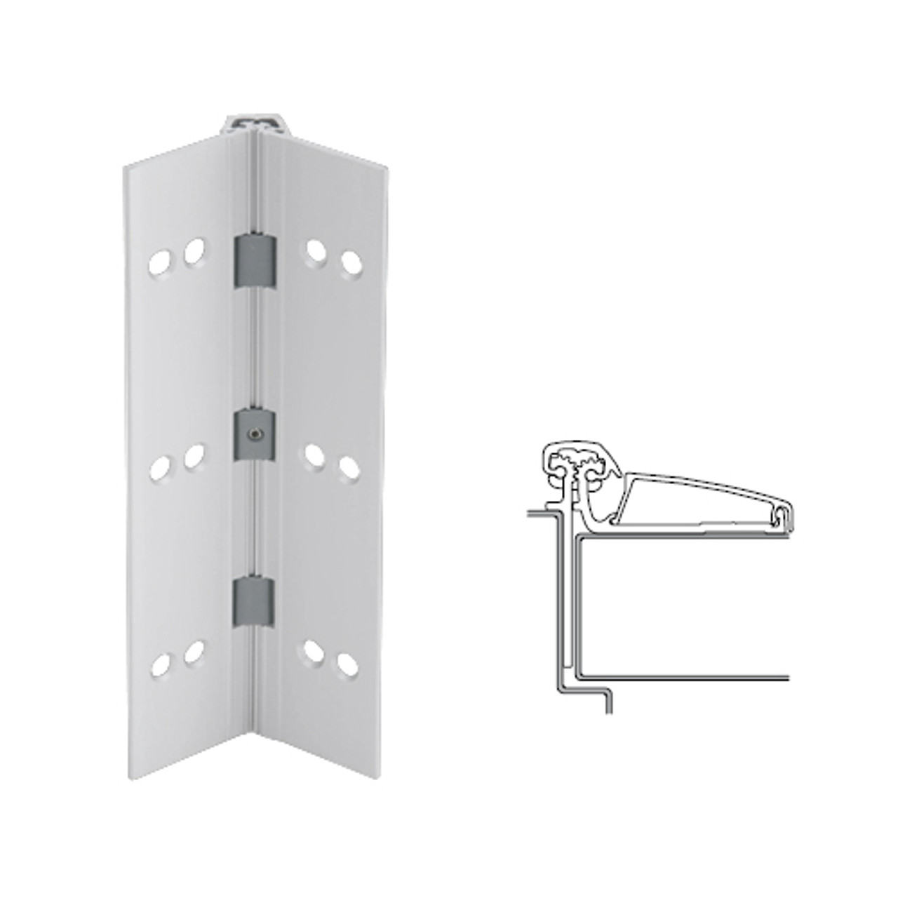 046XY-US28-83-SECWDHM IVES Adjustable Half Surface Continuous Geared Hinges with Security Screws - Hex Pin Drive in Satin Aluminum