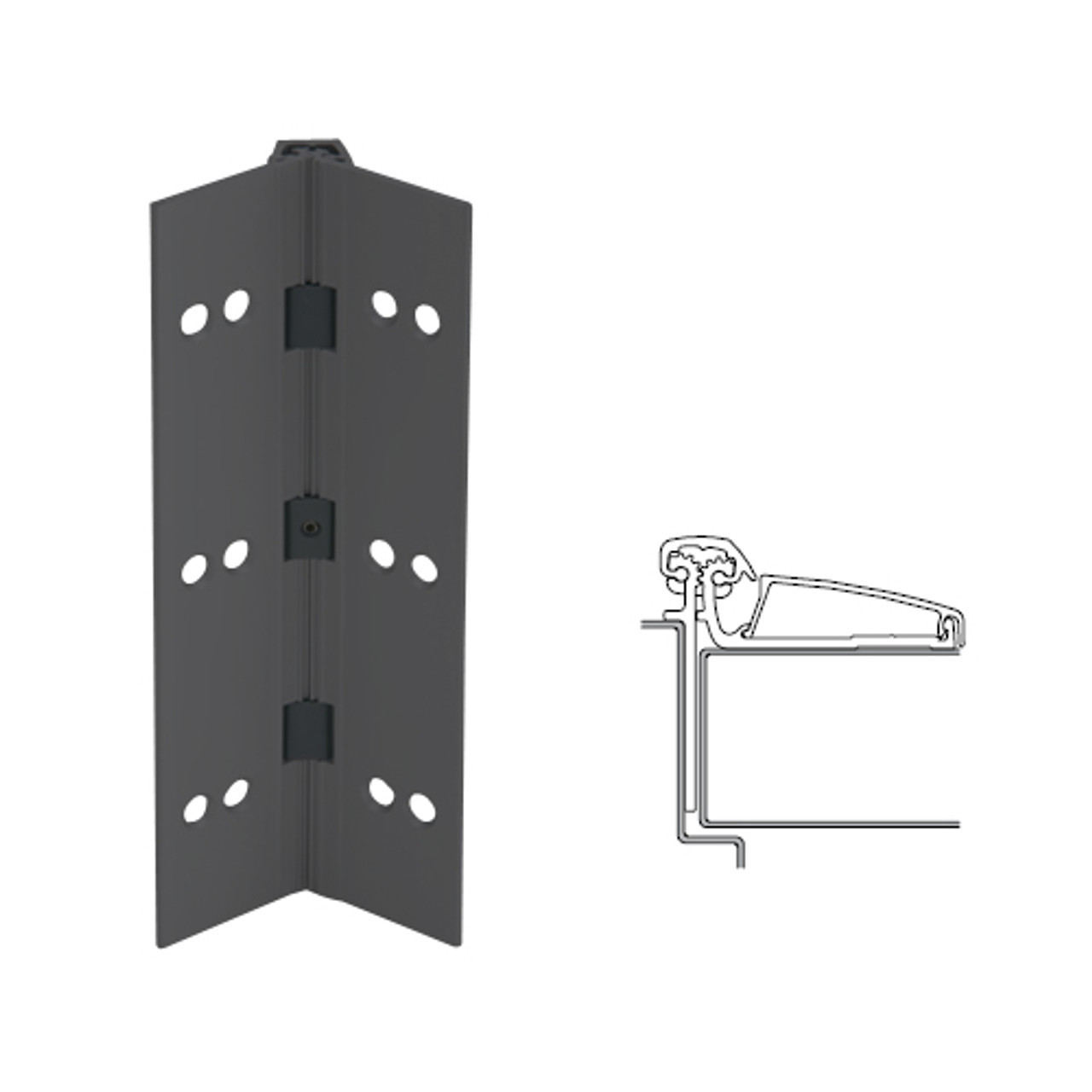 046XY-315AN-83-SECWDHM IVES Adjustable Half Surface Continuous Geared Hinges with Security Screws - Hex Pin Drive in Anodized Black