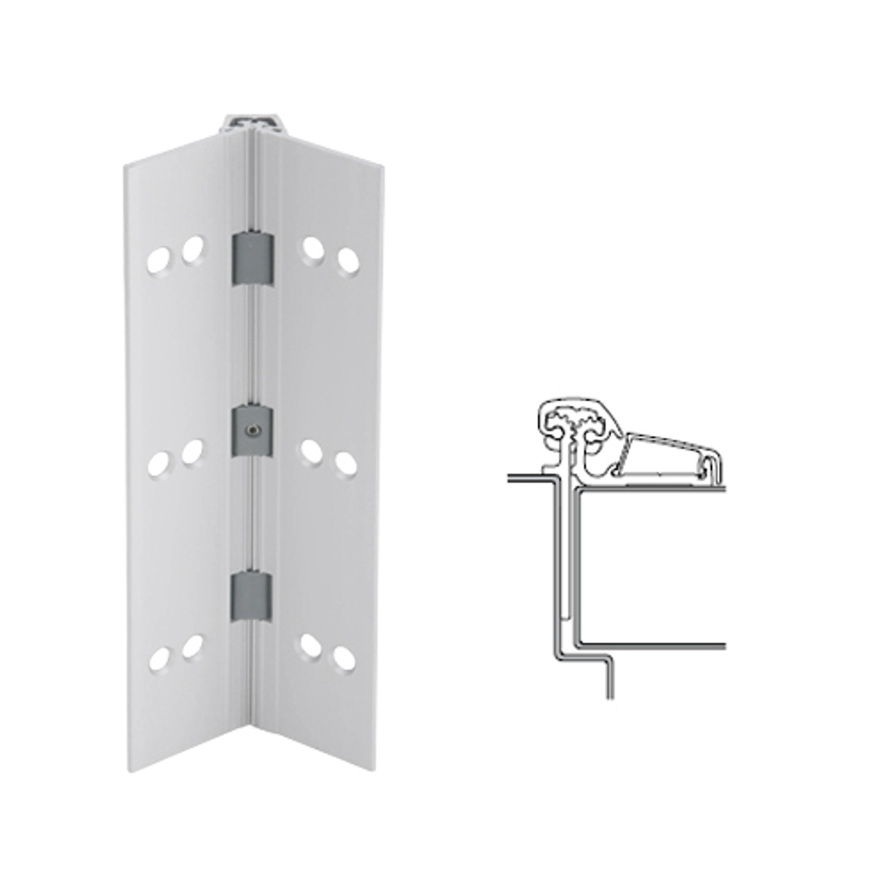 053XY-US28-83-SECWDHM IVES Adjustable Half Surface Continuous Geared Hinges with Security Screws - Hex Pin Drive in Satin Aluminum