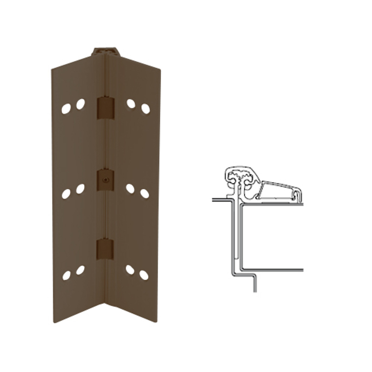 053XY-313AN-85-SECWDHM IVES Adjustable Half Surface Continuous Geared Hinges with Security Screws - Hex Pin Drive in Dark Bronze Anodized