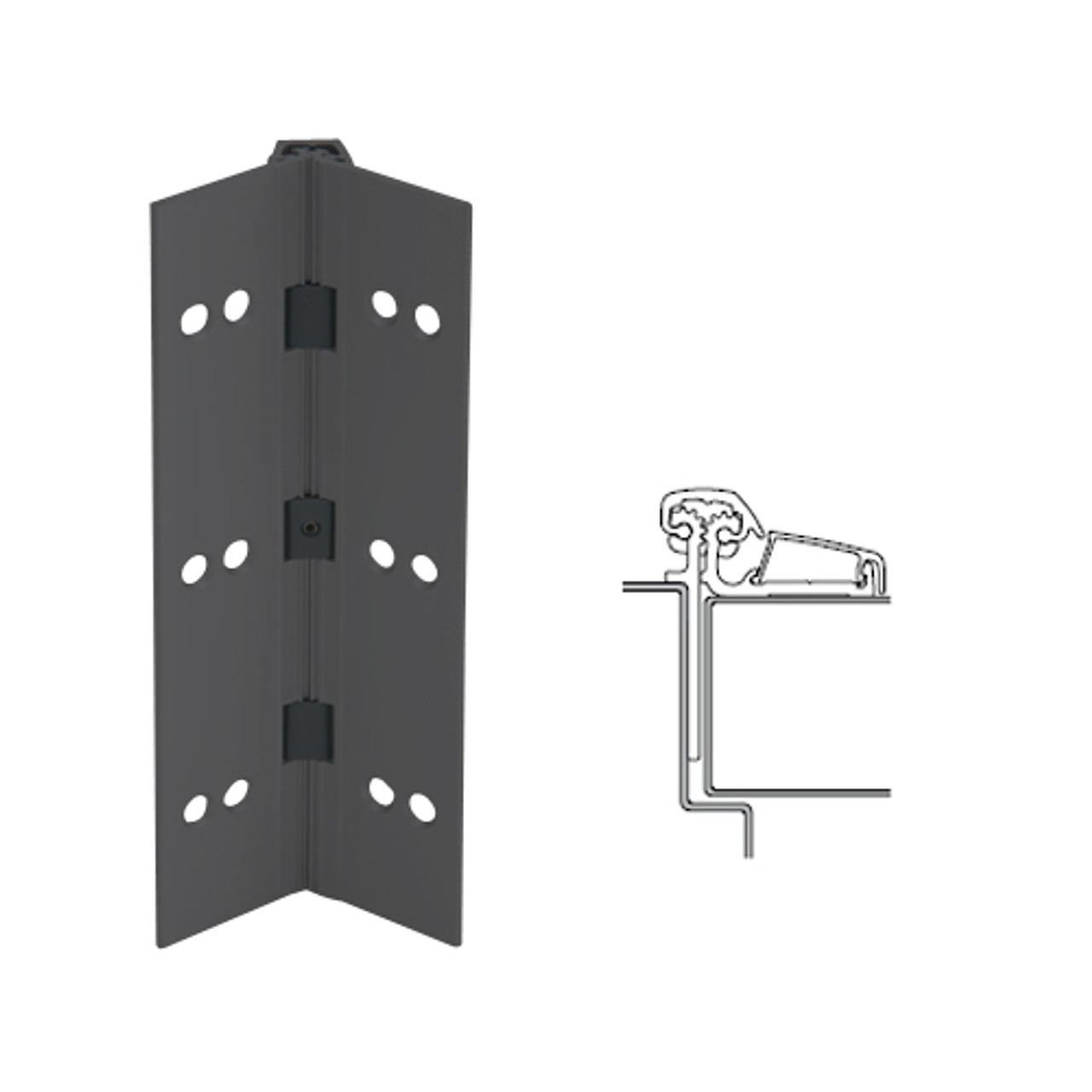 053XY-315AN-120-SECWDHM IVES Adjustable Half Surface Continuous Geared Hinges with Security Screws - Hex Pin Drive in Anodized Black