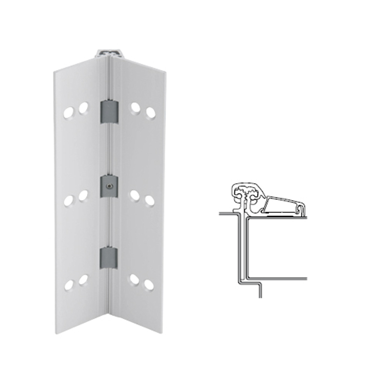 054XY-US28-85-SECWDHM IVES Adjustable Half Surface Continuous Geared Hinges with Security Screws - Hex Pin Drive in Satin Aluminum