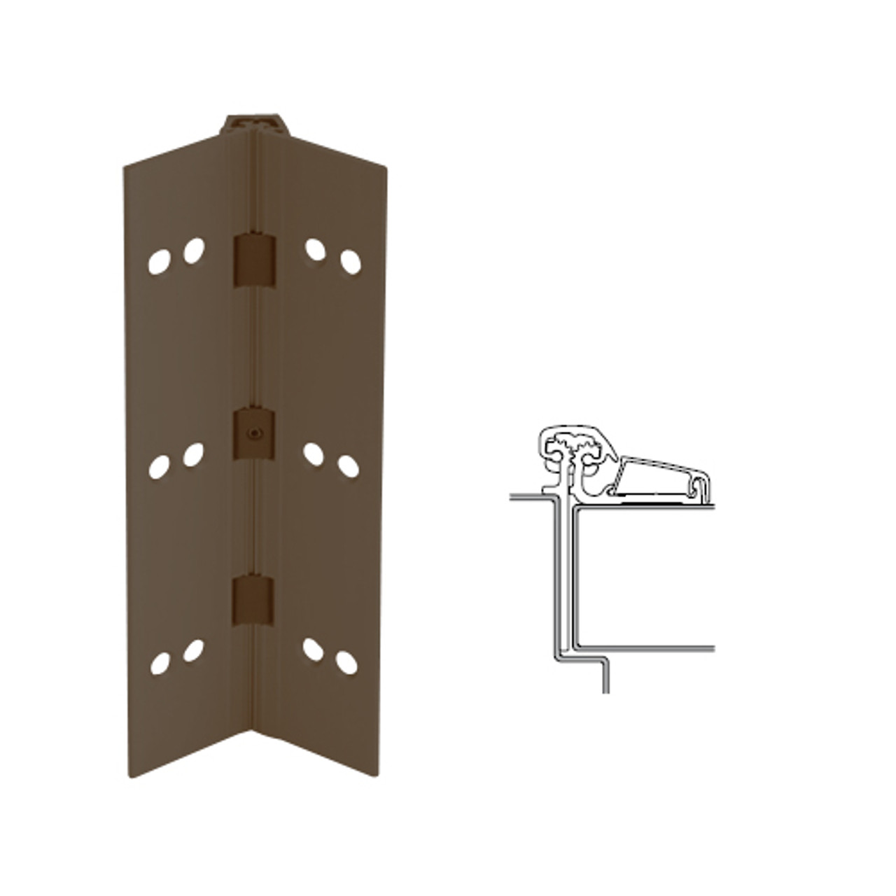 054XY-313AN-95-SECWDHM IVES Adjustable Half Surface Continuous Geared Hinges with Security Screws - Hex Pin Drive in Dark Bronze Anodized