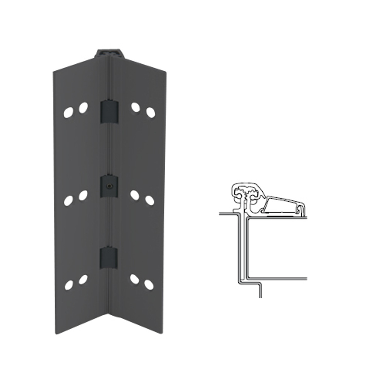 054XY-315AN-83-SECWDHM IVES Adjustable Half Surface Continuous Geared Hinges with Security Screws - Hex Pin Drive in Anodized Black