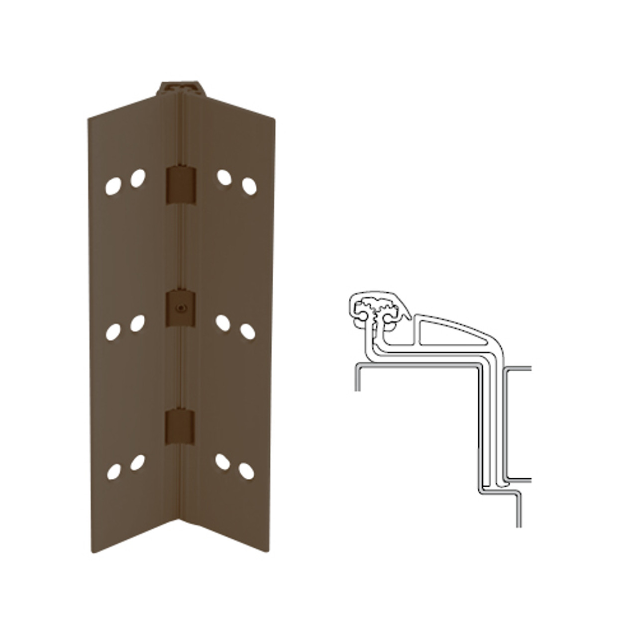 041XY-313AN-120-WD IVES Full Mortise Continuous Geared Hinges with Wood Screws in Dark Bronze Anodized