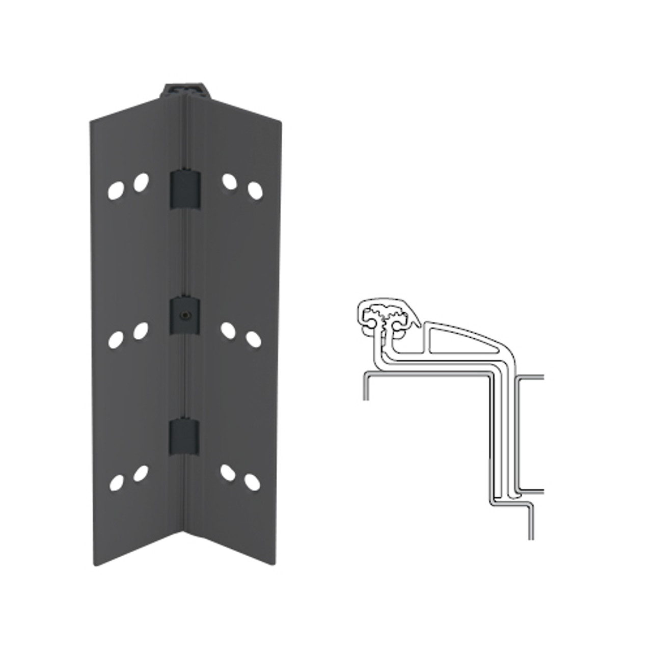 041XY-315AN-95-WD IVES Full Mortise Continuous Geared Hinges with Wood Screws in Anodized Black