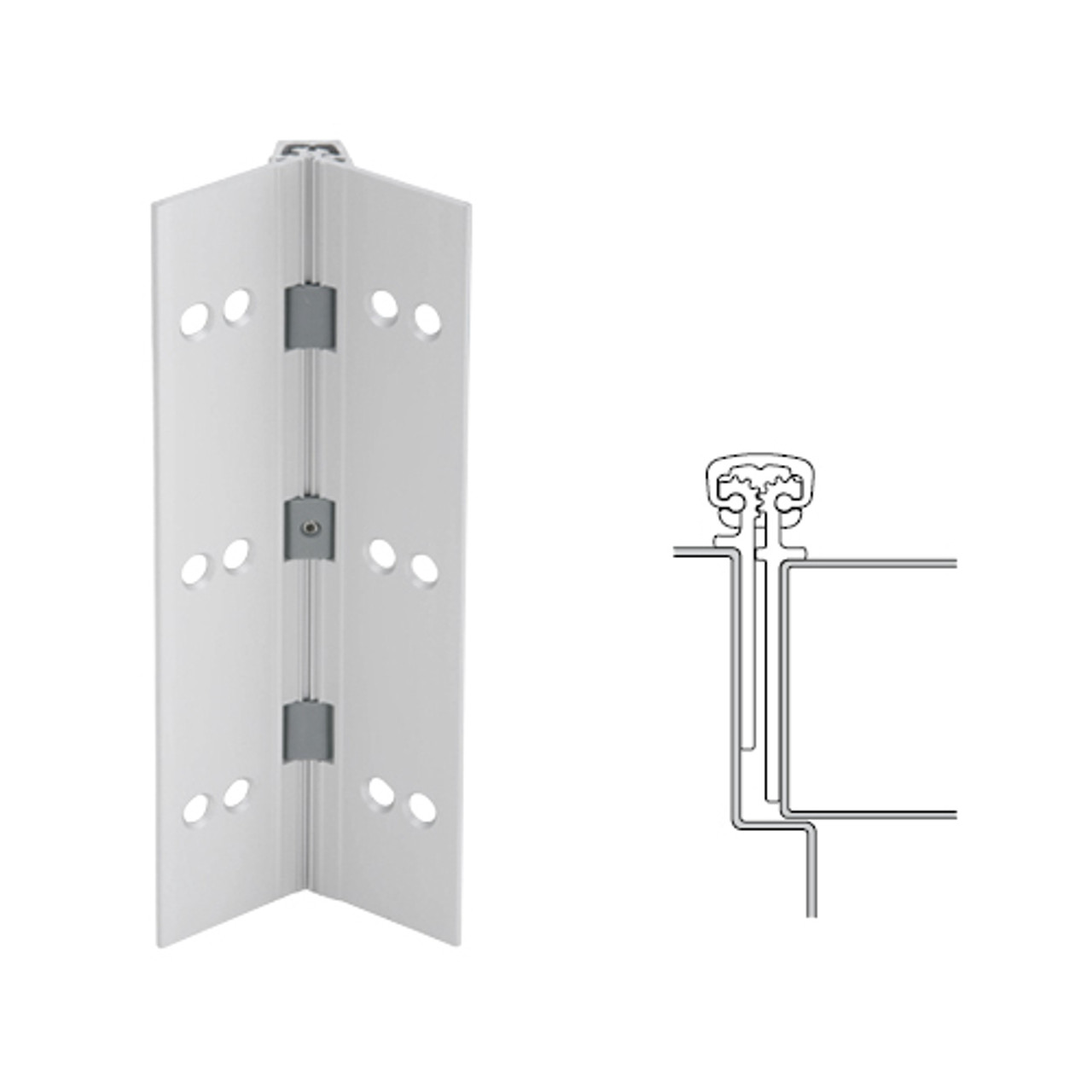 026XY-US28-95-TF IVES Full Mortise Continuous Geared Hinges with Thread Forming Screws in Satin Aluminum