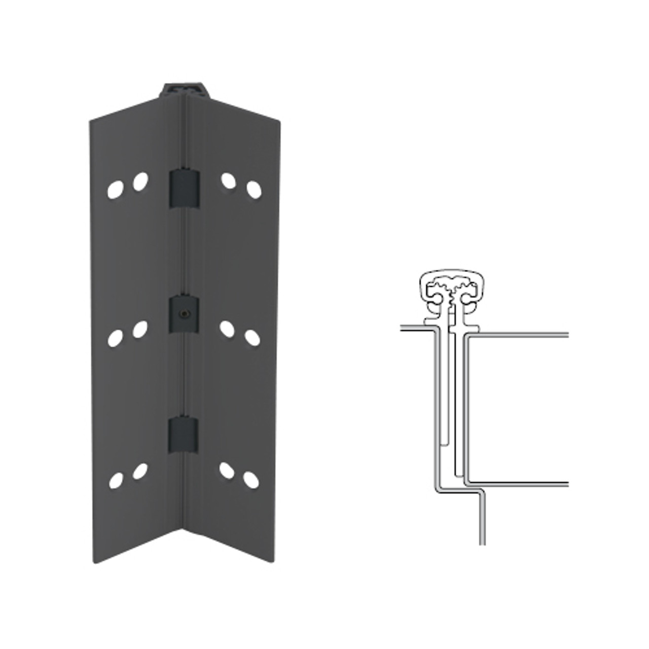 026XY-315AN-95-TF IVES Full Mortise Continuous Geared Hinges with Thread Forming Screws in Anodized Black