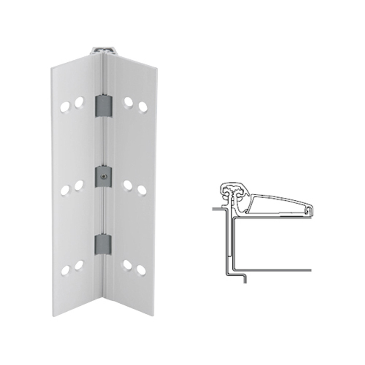 045XY-US28-95-TF IVES Adjustable Half Surface Continuous Geared Hinges with Thread Forming Screws in Satin Aluminum