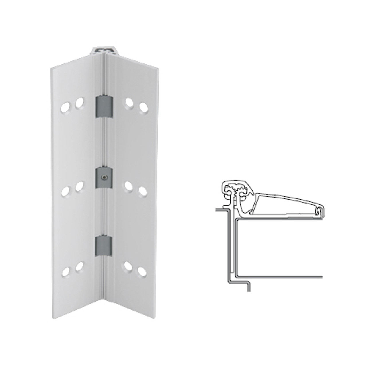 046XY-US28-95-TF IVES Adjustable Half Surface Continuous Geared Hinges with Thread Forming Screws in Satin Aluminum