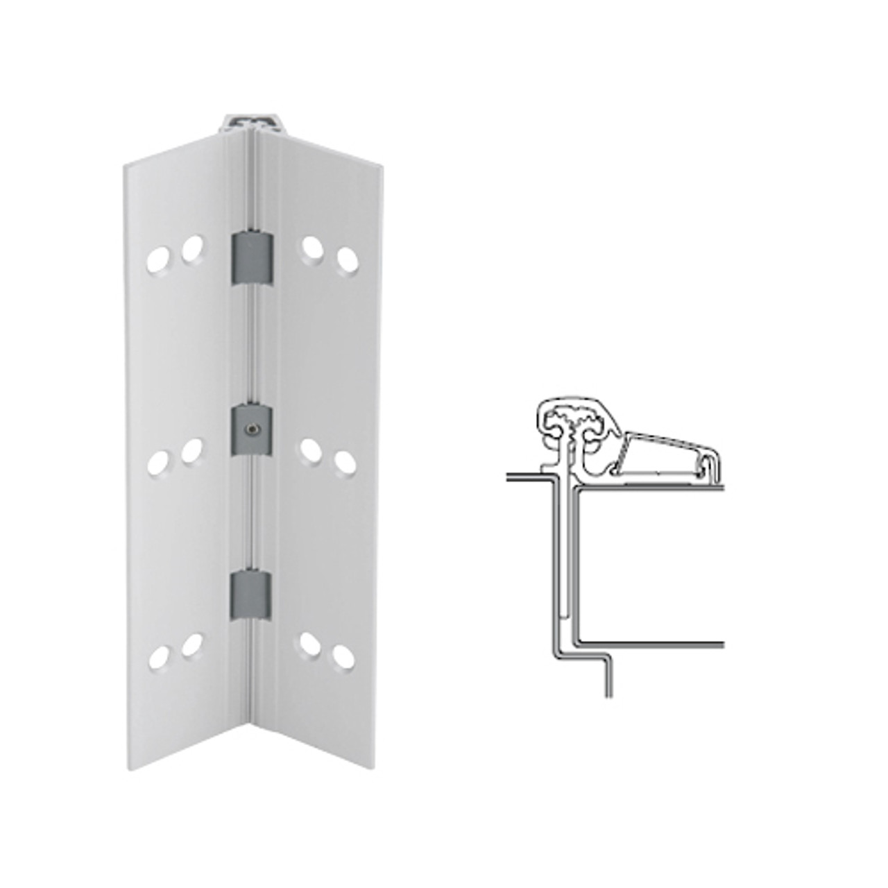 053XY-US28-95-TF IVES Adjustable Half Surface Continuous Geared Hinges with Thread Forming Screws in Satin Aluminum