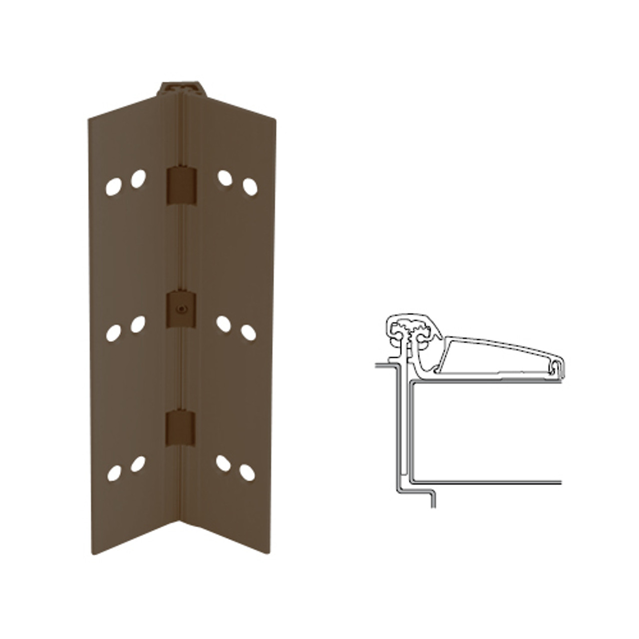 046XY-313AN-120-TFWD IVES Adjustable Half Surface Continuous Geared Hinges with Thread Forming Screws in Dark Bronze Anodized