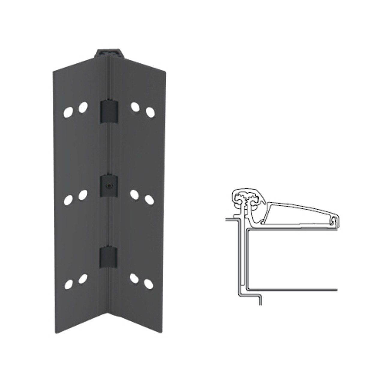 046XY-315AN-95-TFWD IVES Adjustable Half Surface Continuous Geared Hinges with Thread Forming Screws in Anodized Black
