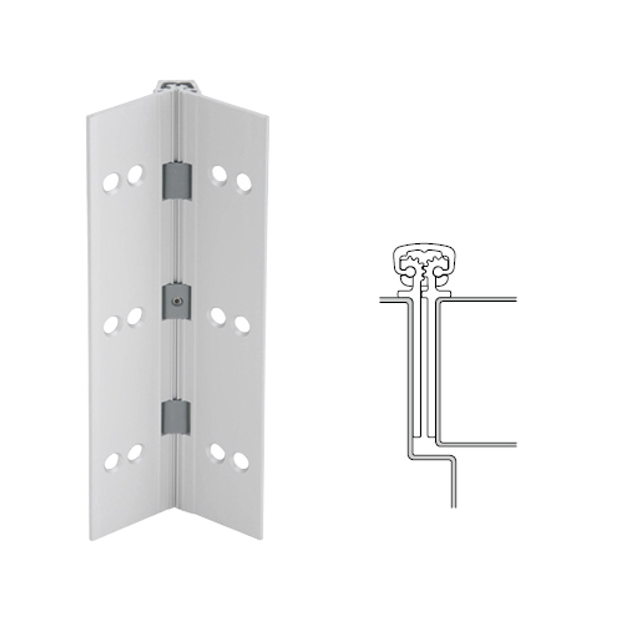 027XY-US28-120-SECWDWD IVES Full Mortise Continuous Geared Hinges with Security Screws - Hex Pin Drive in Satin Aluminum