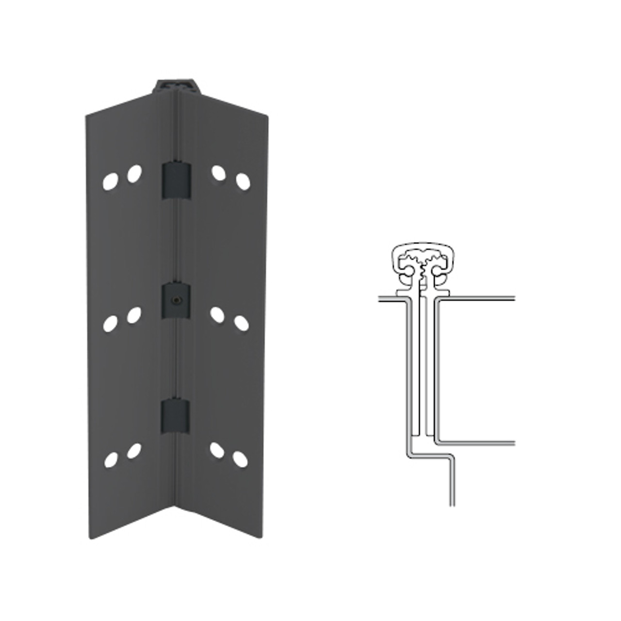 027XY-315AN-85-SECWDWD IVES Full Mortise Continuous Geared Hinges with Security Screws - Hex Pin Drive in Anodized Black