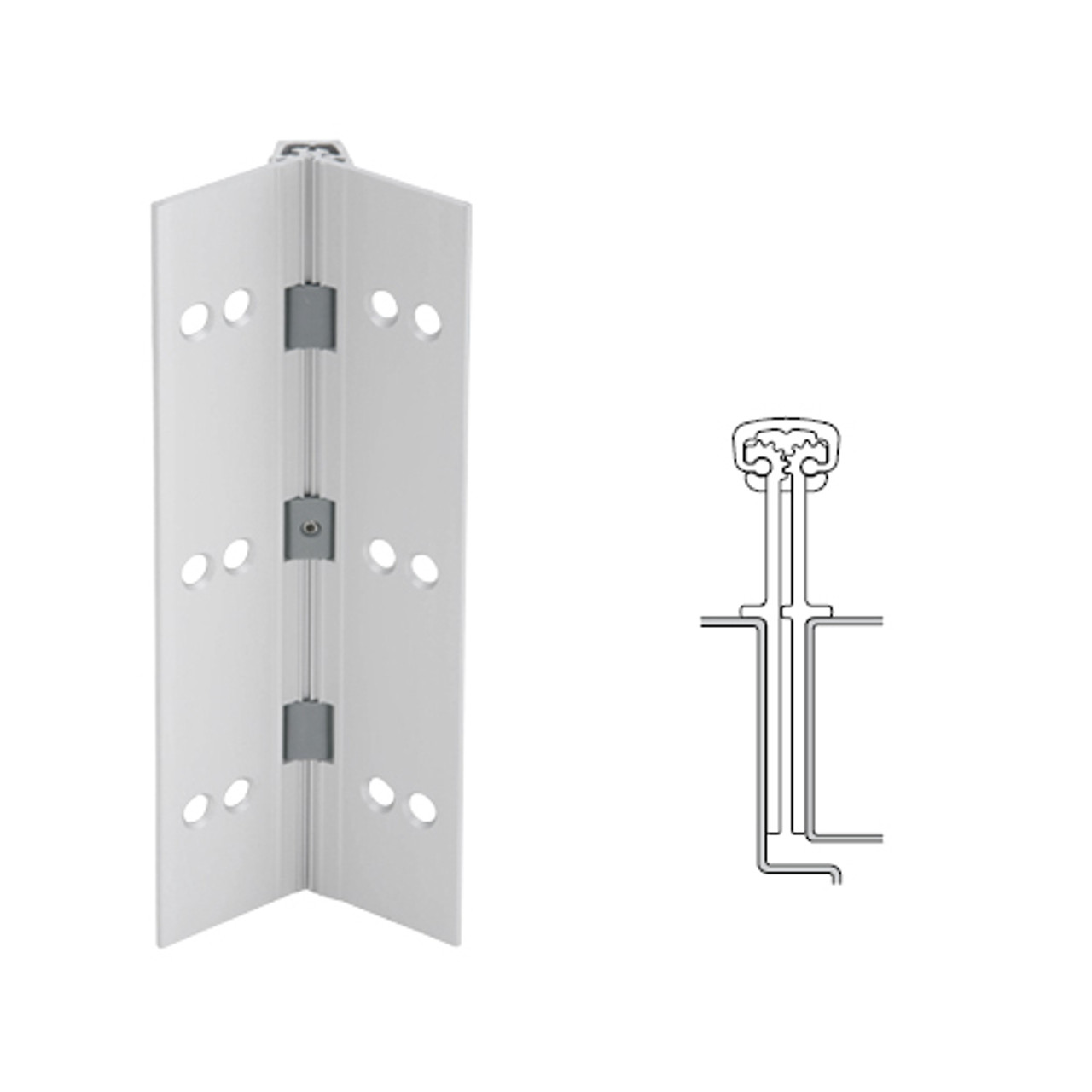 040XY-US28-85-SECWDWD IVES Full Mortise Continuous Geared Hinges with Security Screws - Hex Pin Drive in Satin Aluminum