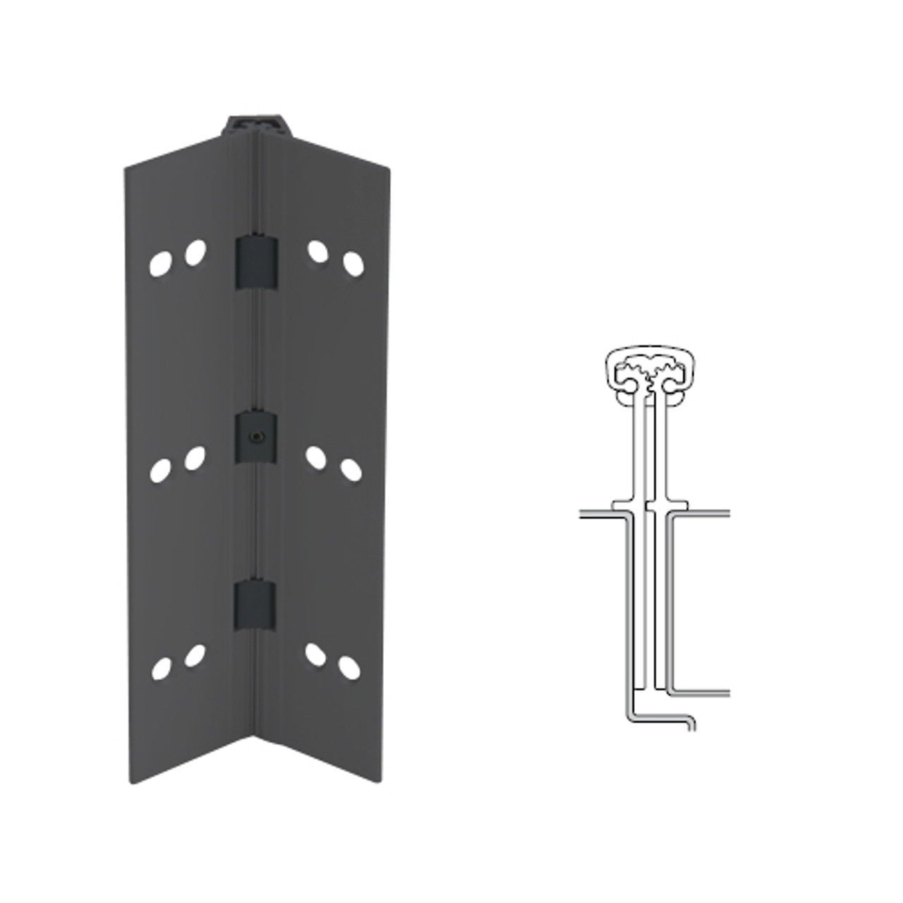 040XY-315AN-120-SECWDWD IVES Full Mortise Continuous Geared Hinges with Security Screws - Hex Pin Drive in Anodized Black