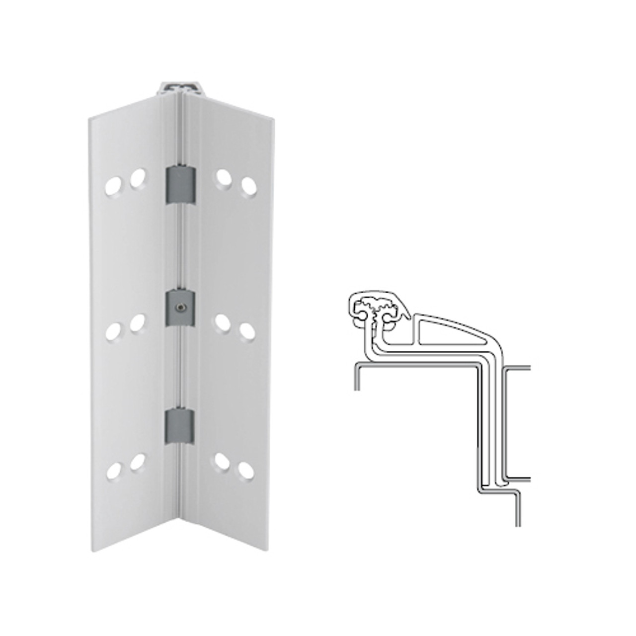 041XY-US28-95-SECWDWD IVES Full Mortise Continuous Geared Hinges with Security Screws - Hex Pin Drive in Satin Aluminum