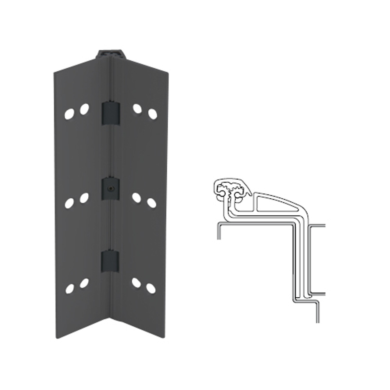 041XY-315AN-85-SECWDWD IVES Full Mortise Continuous Geared Hinges with Security Screws - Hex Pin Drive in Anodized Black