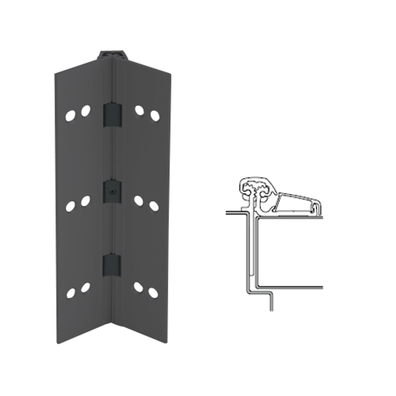 053XY-315AN-83-SECWDWD IVES Adjustable Half Surface Continuous Geared Hinges with Security Screws - Hex Pin Drive in Anodized Black