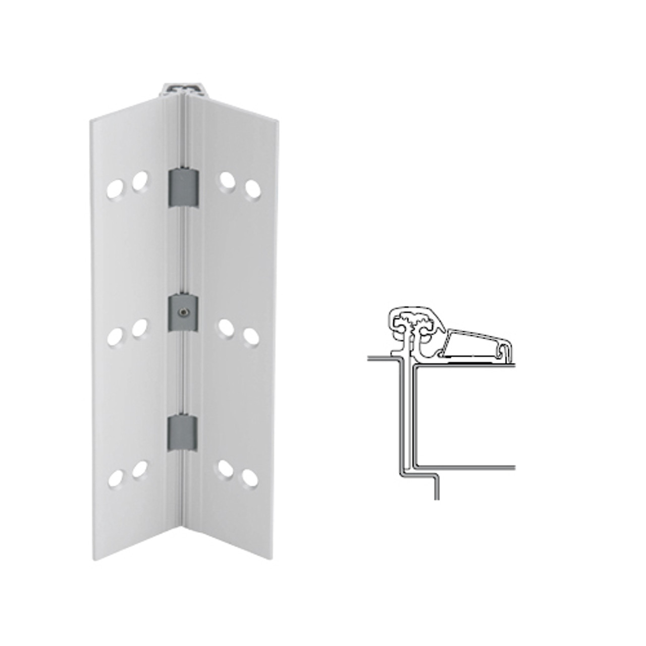 054XY-US28-85-SECWDWD IVES Adjustable Half Surface Continuous Geared Hinges with Security Screws - Hex Pin Drive in Satin Aluminum