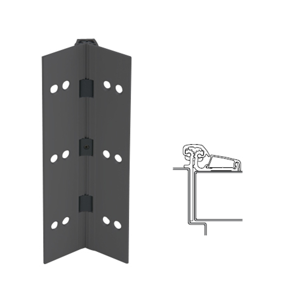 054XY-315AN-95-SECWDWD IVES Adjustable Half Surface Continuous Geared Hinges with Security Screws - Hex Pin Drive in Anodized Black