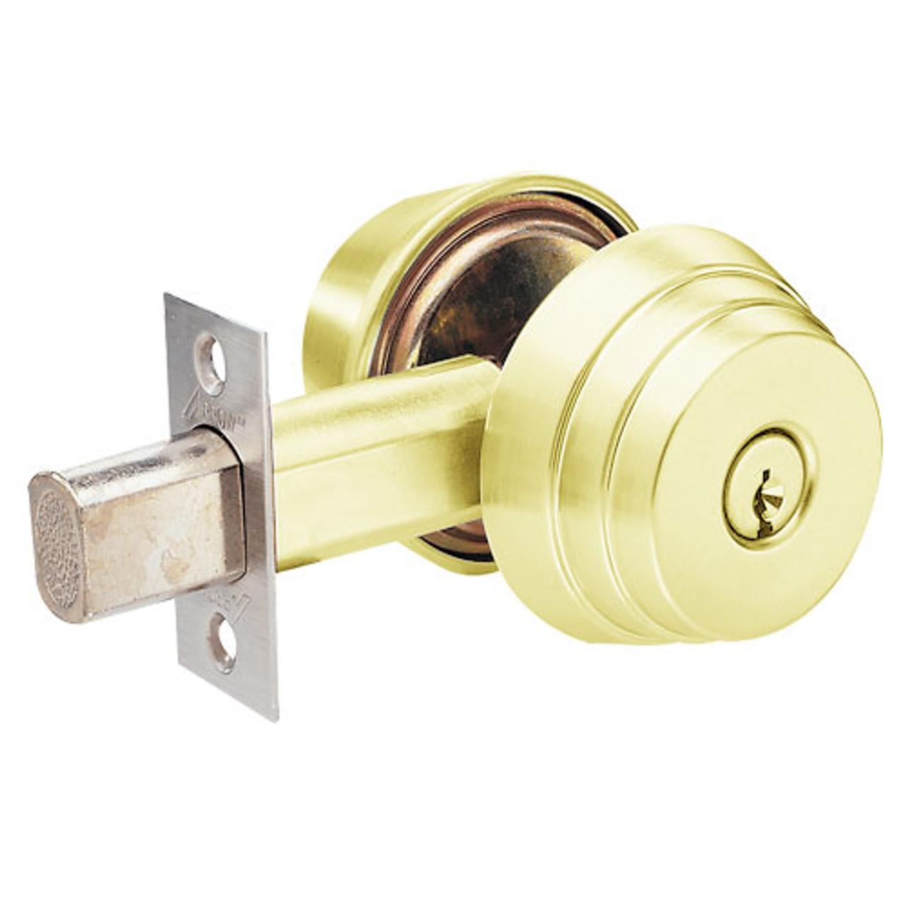 E61-03 Arrow Lock E Series Deadbolt in Bright Brass Finish