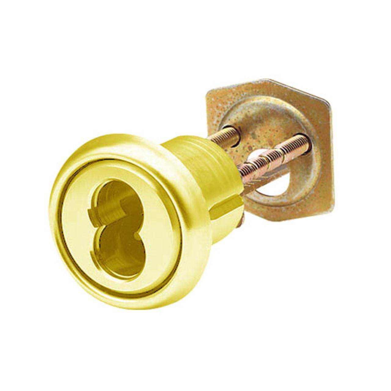 16RCR-16-03 Arrow Lock Rim Interchangeable Cylinder 6 Pin Housing in Bright Brass