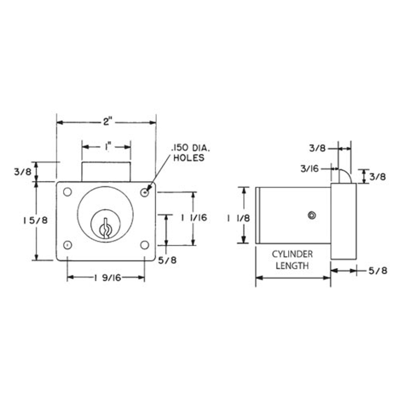Olympus L78V-VH-KD-26D-1-1/8 Vertical Handing Drawer Latch Cabinet Lock in Satin Chrome