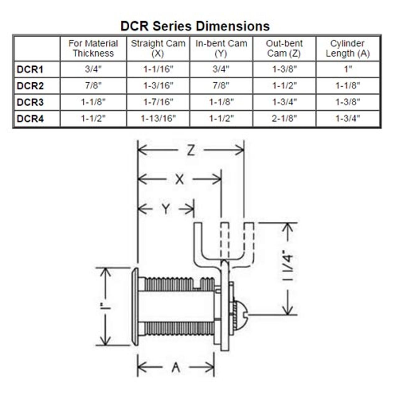 Olympus DCR4-KA4T2-26D R Series Keyed Alike Reversible Cam Lock in Satin Chrome