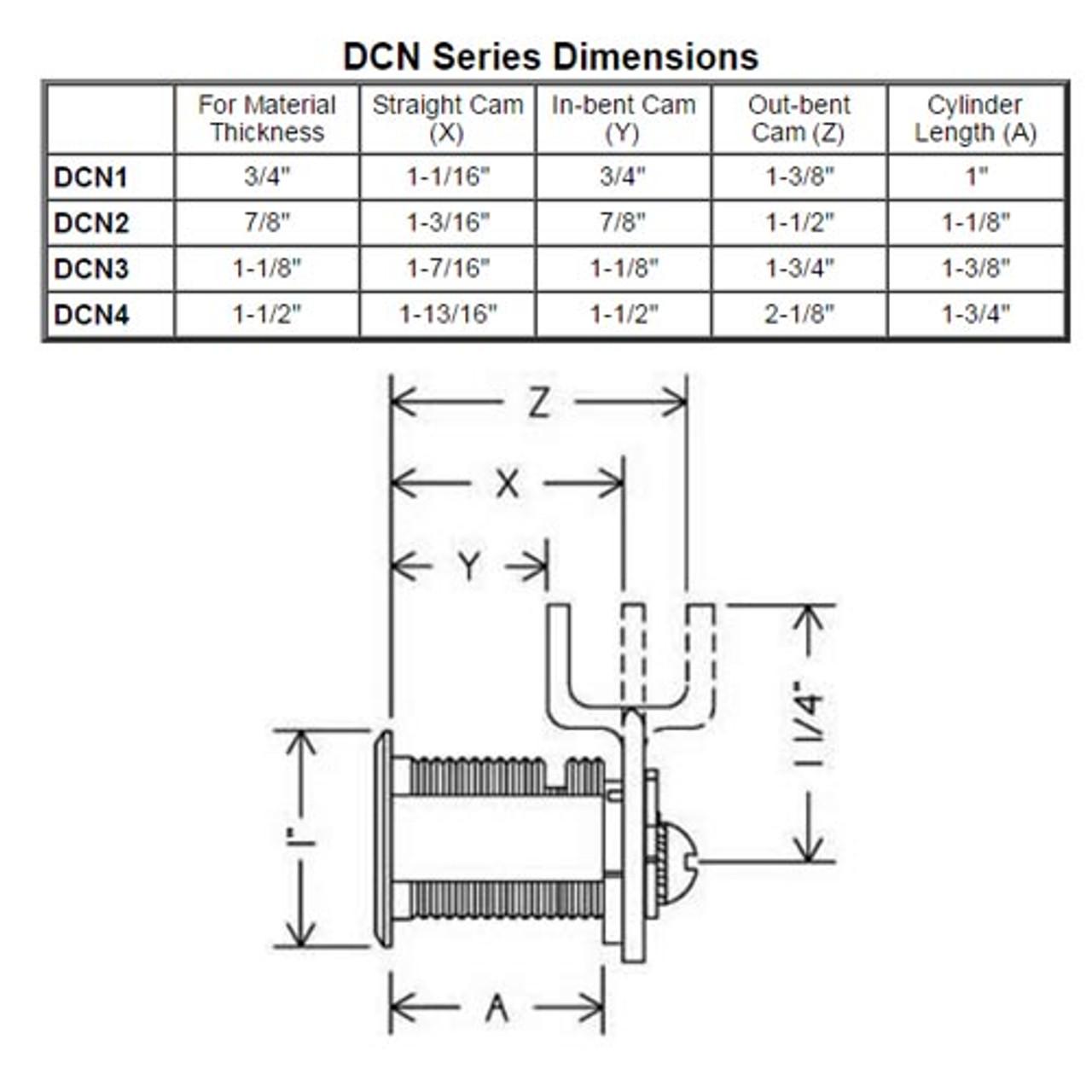 Olympus DCN3-KA107-26D N Series Keyed Alike Reversible Cam Lock in Satin Chrome