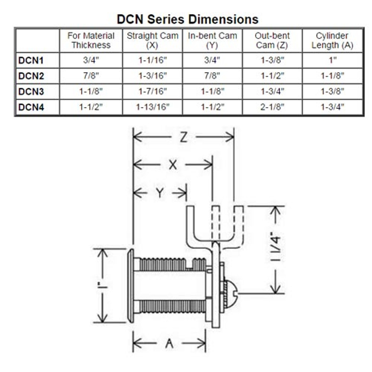 Olympus DCN1-KD-US3 N Series Keyed Different Reversible Cam Lock in Bright Brass